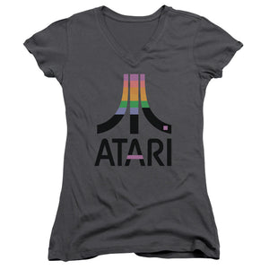 Atari Juniors V-Neck T-Shirt Retro Colors Logo Charcoal Tee