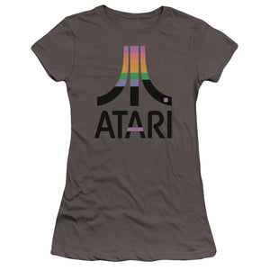 Atari Juniors T-Shirt Retro Colors Logo Charcoal Premium Tee