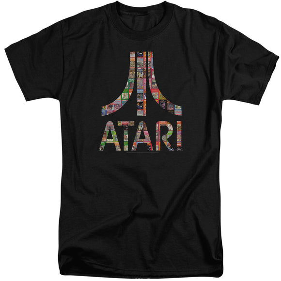 Atari Tall T-Shirt Game Box Art Logo Black Tee