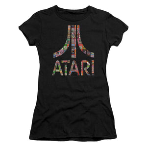 Atari Juniors T-Shirt Game Box Art Logo Black Tee