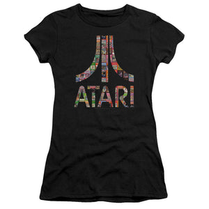 Atari Juniors T-Shirt Game Box Art Logo Black Premium Tee