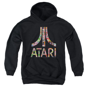 Atari Kids Hoodie Game Box Art Logo Black Hoody