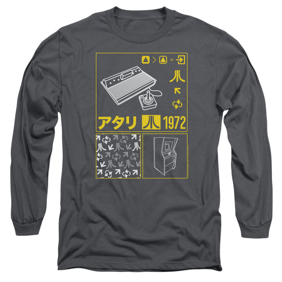 Atari Long Sleeve T-Shirt Kanji Squares Charcoal Tee