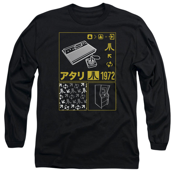 Atari Long Sleeve T-Shirt Kanji Squares Black Tee