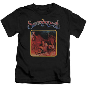 Atari Boys T-Shirt Swordquest Cover Art Black Tee