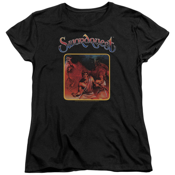 Atari Womens T-Shirt Swordquest Cover Art Black Tee