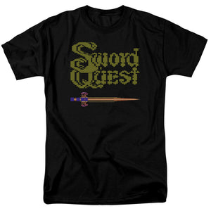 Atari Mens T-Shirt Swordquest 8 Bit Sword Black Tee