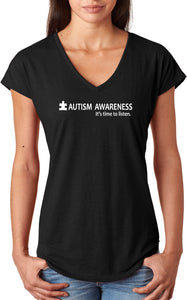 Autism Awareness Time to Listen Ladies Triblend V-Neck