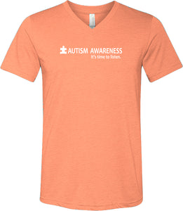 Autism Awareness Time to Listen Tri Blend V-Neck Shirt