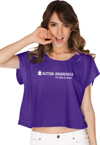 Autism Awareness Time to Listen Ladies Boxy Shirt