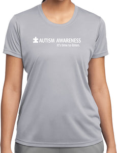 Autism Awareness Time to Listen Ladies Moisture Wicking Shirt