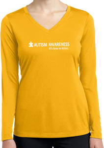 Autism Awareness Time to Listen Ladies Dry Wicking Long Sleeve