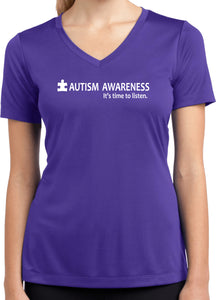 Autism Awareness Time to Listen Ladies Dry Wicking V-neck