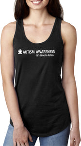 Autism Awareness Time to Listen Ladies Ideal Tank Top