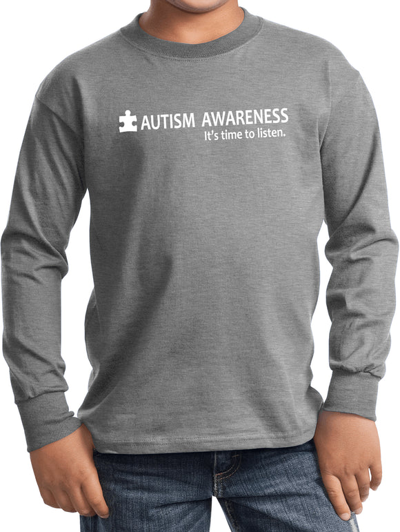 Buy Cool Shirts Autism Awareness Time to Listen Youth Kids Long Sleeve Shirt