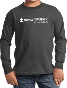 Autism Awareness Time to Listen Youth Kids Long Sleeve Shirt