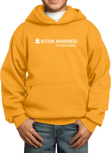 Autism Awareness Time to Listen Youth Kids Hoodie