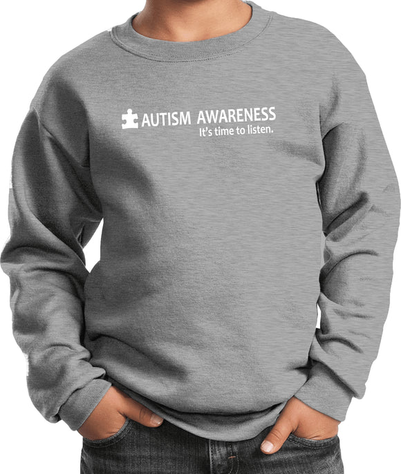 Buy Cool Shirts Autism Awareness Time to Listen Youth Kids Sweatshirt