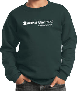 Autism Awareness Time to Listen Youth Kids Sweatshirt