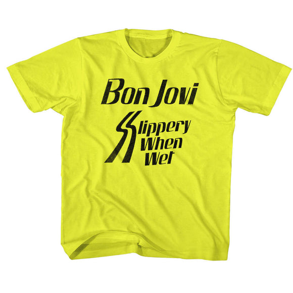 Bon Jovi Toddler T-Shirt Slippery When Wet Yellow Tee