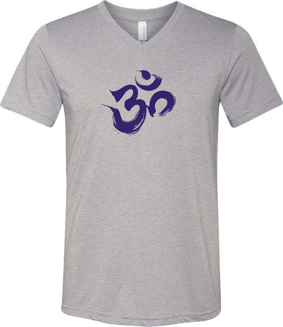 Purple Brushstroke AUM Triblend V-neck Yoga Tee Shirt