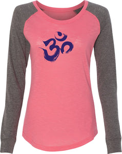 Purple Brushstroke AUM Preppy Patch Elbow Yoga Tee Shirt