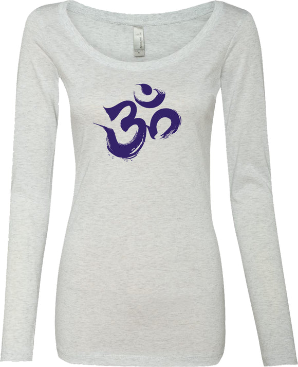 Yoga Clothing For You Purple Brushstroke AUM Triblend Long Sleeve Yoga Tee Shirt