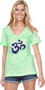Purple Brushstroke AUM Burnout V-neck Yoga Tee Shirt