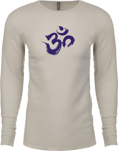 Yoga Clothing For You Purple Brushstroke AUM Long Sleeve Thermal Yoga Tee Shirt