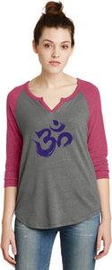 Purple Brushstroke AUM 3/4 Sleeve Vintage Yoga Tee Shirt