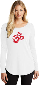 Red Brushstroke AUM Triblend Long Sleeve Tunic Yoga Shirt