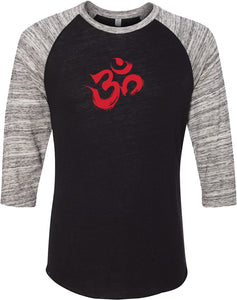 Red Brushstroke AUM Eco Raglan 3/4 Sleeve Yoga Tee Shirt