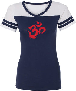 Red Brushstroke AUM Powder Puff Yoga Tee Shirt
