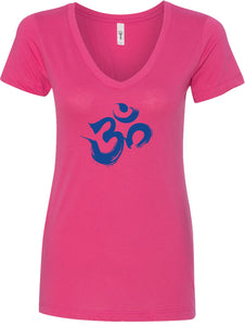 Royal Brushstroke AUM Ideal V-neck Yoga Tee Shirt