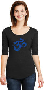 Royal Brushstroke AUM 3/4 Sleeve Scoopneck Yoga Tee Shirt