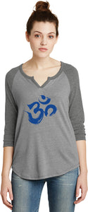 Royal Brushstroke AUM 3/4 Sleeve Vintage Yoga Tee Shirt