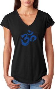 Royal Brushstroke AUM Triblend V-neck Yoga Tee Shirt