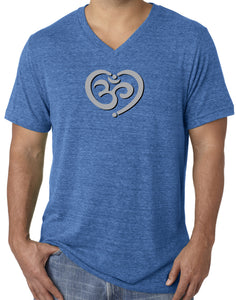 Mens Om Heart Lightweight V-neck Tee Shirt