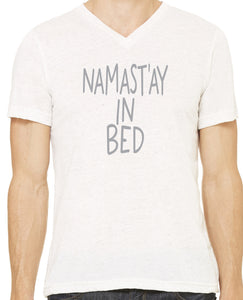 Mens Namast'ay in Bed V-neck Tee Shirt