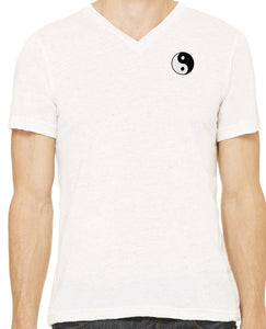 Mens Yin Yang Patch V-neck Tee Shirt - Pocket Print