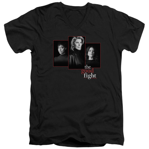 The Good Fight Slim Fit V-Neck T-Shirt Cast Headshots Black Tee