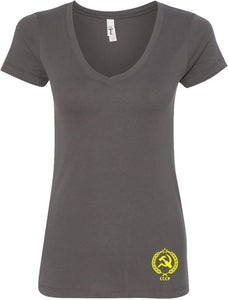 Ladies CCCP T-shirt Crest Bottom Print V-Neck