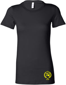 Ladies CCCP T-shirt Crest Bottom Print Longer Length Shirt