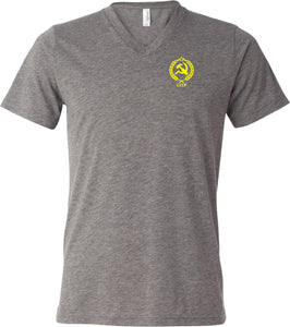 CCCP T-shirt Crest Pocket Print Tri Blend V-Neck