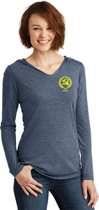 Ladies CCCP T-shirt Crest Pocket Print Tri Blend Hoodie