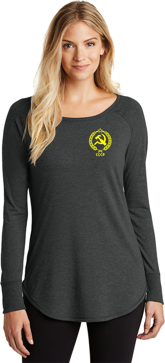 Ladies CCCP T-shirt Crest Pocket Print Tri Blend Long Sleeve