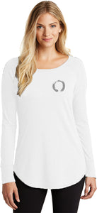Yoga Clothing For You Enso Pocket Print Triblend Long Sleeve Tunic Yoga Shirt