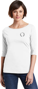 Yoga Clothing For You Enso Pocket Print 100% Cotton 3/4 Sleeve Elbow Yoga Tee