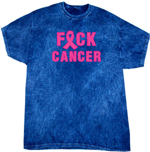 Buy Cool Shirts Breast Cancer T-shirt Fxck Cancer Mineral Washed Tie Dye Tee