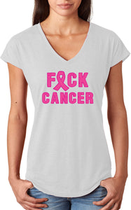 Breast Cancer T-shirt Fxck Cancer Ladies Triblend V-Neck